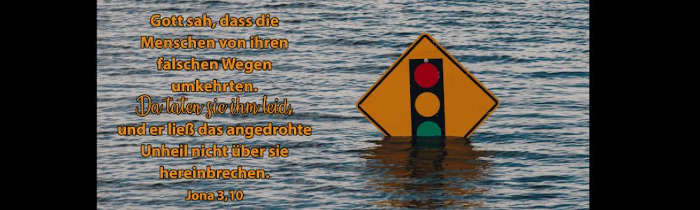 Schild im Wasser mit Ampel
