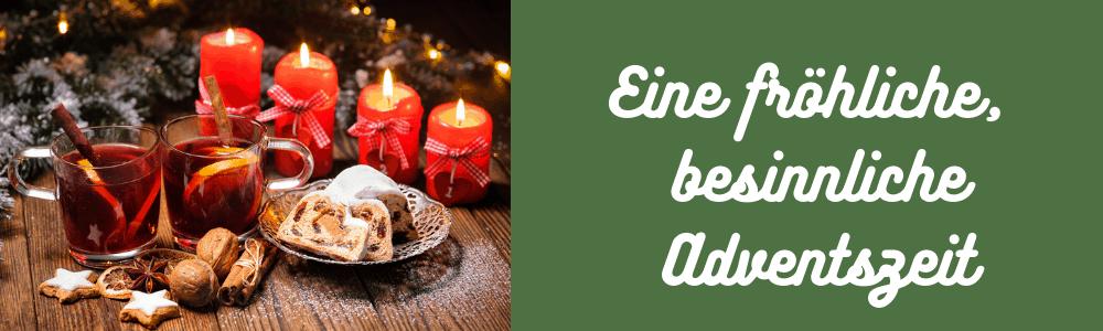 vier brennende Kerzen und Stolle