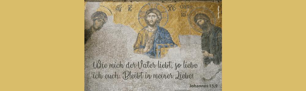 Ein Kunstwerk mit Jesus und zwei Jüngern