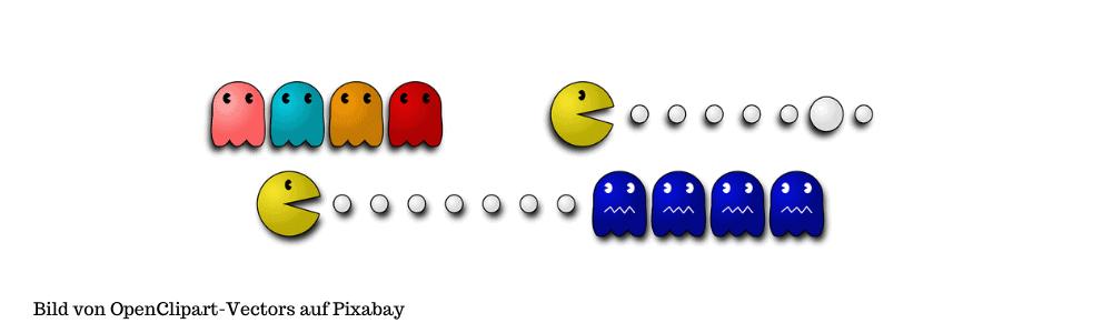 Figuren aus dem Computerspiel pacman